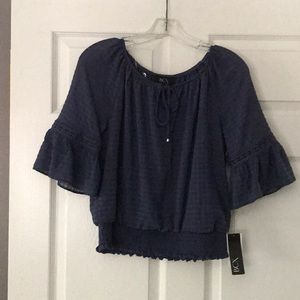 Smocked waist bell sleeve blouse.  New with tags.